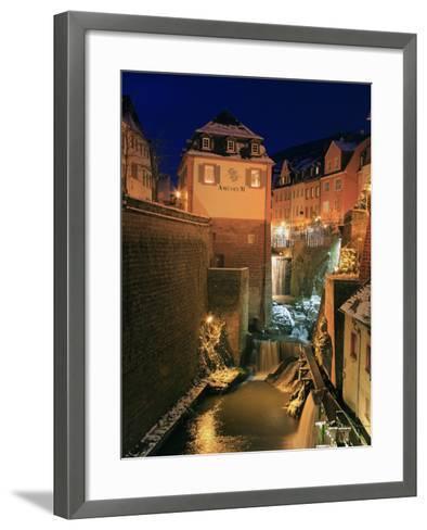 Old Town and Waterfall on River Leuk, Saarburg, Saar Valley, Rhineland-Palatinate, Germany, Europe-Hans Peter Merten-Framed Art Print