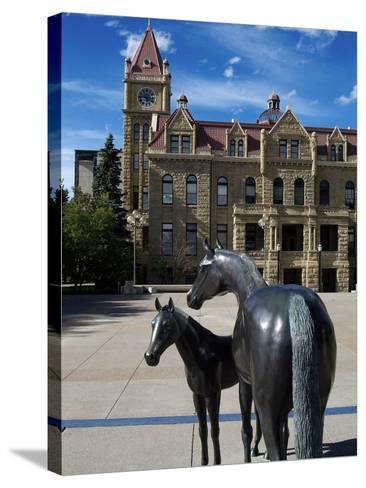 Sculpture at Calgary City Hall, Calgary, Alberta, Canada, North America-Hans Peter Merten-Stretched Canvas Print
