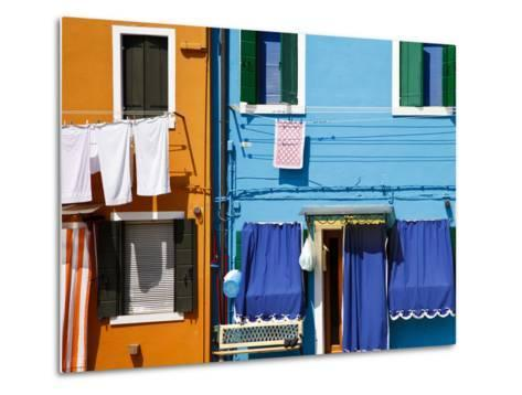 Colourfully Painted Houses Situated on Canal Banks on the Island of Burano, Located Near Venice, Ve-Kimberley Coole-Metal Print