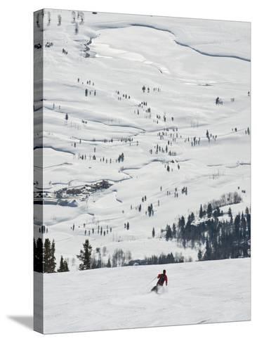 Skier at Jackson Hole Ski, Jackson Hole, Wyoming, United States of America, North America-Kimberly Walker-Stretched Canvas Print