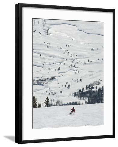 Skier at Jackson Hole Ski, Jackson Hole, Wyoming, United States of America, North America-Kimberly Walker-Framed Art Print