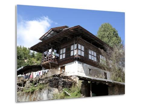 Traditional Bhutanese House in the Bumthang Valley, Bhutan, Asia-Lee Frost-Metal Print