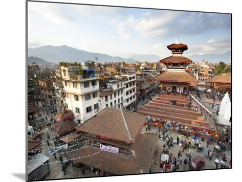 View over Durbar Square from Rooftop Cafe Showing Temples and Busy Streets, Kathmandu, Nepal, Asia-Lee Frost-Mounted Photographic Print