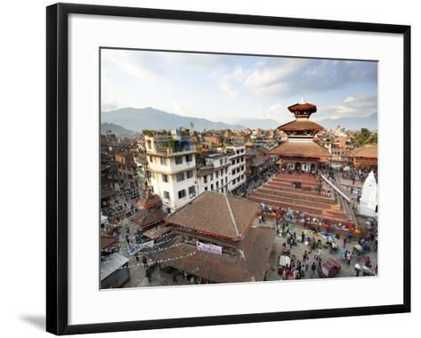 View over Durbar Square from Rooftop Cafe Showing Temples and Busy Streets, Kathmandu, Nepal, Asia-Lee Frost-Framed Art Print