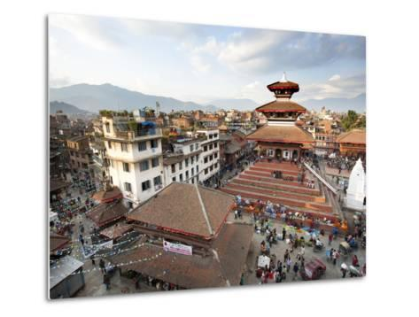 View over Durbar Square from Rooftop Cafe Showing Temples and Busy Streets, Kathmandu, Nepal, Asia-Lee Frost-Metal Print