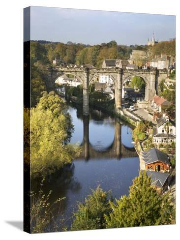 Knaresborough Viaduct and River Nidd in Autumn, North Yorkshire, Yorkshire, England, United Kingdom-Mark Sunderland-Stretched Canvas Print