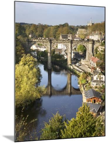 Knaresborough Viaduct and River Nidd in Autumn, North Yorkshire, Yorkshire, England, United Kingdom-Mark Sunderland-Mounted Photographic Print