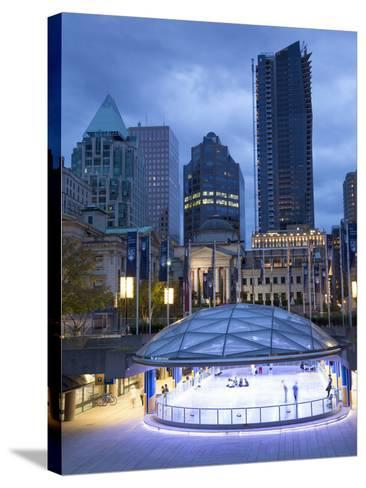 The Ice Rink at Night, Robson Square, Downtown, Vancouver, British Columbia, Canada, North America-Martin Child-Stretched Canvas Print