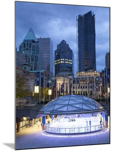 The Ice Rink at Night, Robson Square, Downtown, Vancouver, British Columbia, Canada, North America-Martin Child-Mounted Photographic Print