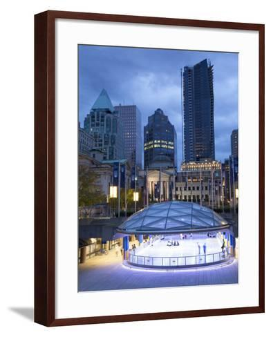 The Ice Rink at Night, Robson Square, Downtown, Vancouver, British Columbia, Canada, North America-Martin Child-Framed Art Print