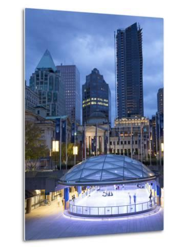 The Ice Rink at Night, Robson Square, Downtown, Vancouver, British Columbia, Canada, North America-Martin Child-Metal Print
