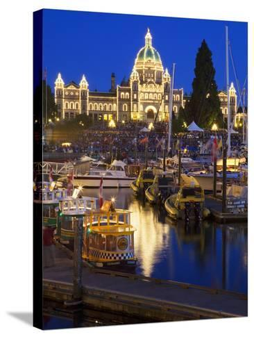 Inner Harbour with Parliament Building at Night, Victoria, Vancouver Island, British Columbia, Cana-Martin Child-Stretched Canvas Print