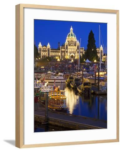 Inner Harbour with Parliament Building at Night, Victoria, Vancouver Island, British Columbia, Cana-Martin Child-Framed Art Print