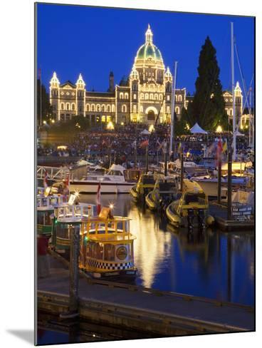 Inner Harbour with Parliament Building at Night, Victoria, Vancouver Island, British Columbia, Cana-Martin Child-Mounted Photographic Print