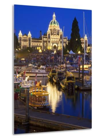 Inner Harbour with Parliament Building at Night, Victoria, Vancouver Island, British Columbia, Cana-Martin Child-Metal Print