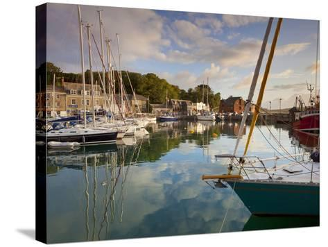 Low Morning Light and Sailing Yacht Reflections at Padstow Harbour, Cornwall, England, United Kingd-Neale Clark-Stretched Canvas Print