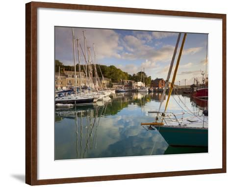 Low Morning Light and Sailing Yacht Reflections at Padstow Harbour, Cornwall, England, United Kingd-Neale Clark-Framed Art Print
