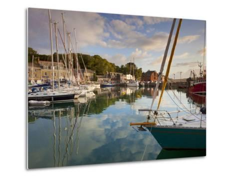 Low Morning Light and Sailing Yacht Reflections at Padstow Harbour, Cornwall, England, United Kingd-Neale Clark-Metal Print