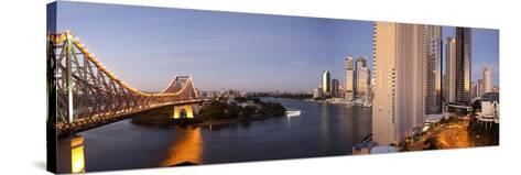 Story Bridge, Kangaroo Point, Brisbane River and City Centre at Dawn, Brisbane, Queensland, Austral-Nick Servian-Stretched Canvas Print