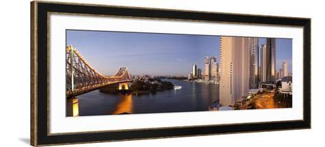 Story Bridge, Kangaroo Point, Brisbane River and City Centre at Dawn, Brisbane, Queensland, Austral-Nick Servian-Framed Art Print