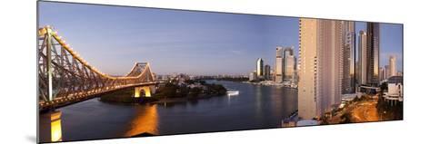 Story Bridge, Kangaroo Point, Brisbane River and City Centre at Dawn, Brisbane, Queensland, Austral-Nick Servian-Mounted Photographic Print
