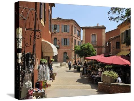Street Scene in the Ochre Coloured Town of Roussillon, Parc Naturel Regional Du Luberon, Vaucluse, -Peter Richardson-Stretched Canvas Print