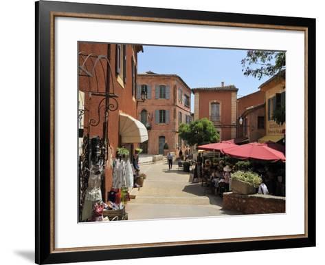 Street Scene in the Ochre Coloured Town of Roussillon, Parc Naturel Regional Du Luberon, Vaucluse, -Peter Richardson-Framed Art Print