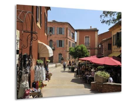 Street Scene in the Ochre Coloured Town of Roussillon, Parc Naturel Regional Du Luberon, Vaucluse, -Peter Richardson-Metal Print