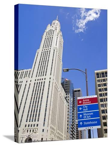 Leveque Tower and Road Signs, Columbus, Ohio, United States of America, North America-Richard Cummins-Stretched Canvas Print