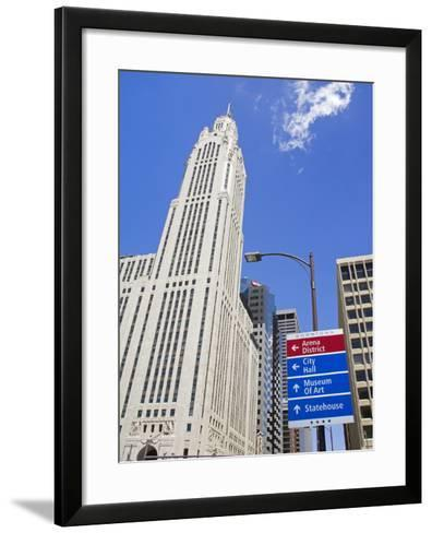 Leveque Tower and Road Signs, Columbus, Ohio, United States of America, North America-Richard Cummins-Framed Art Print