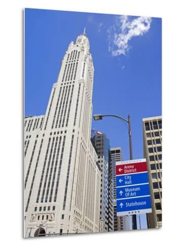 Leveque Tower and Road Signs, Columbus, Ohio, United States of America, North America-Richard Cummins-Metal Print