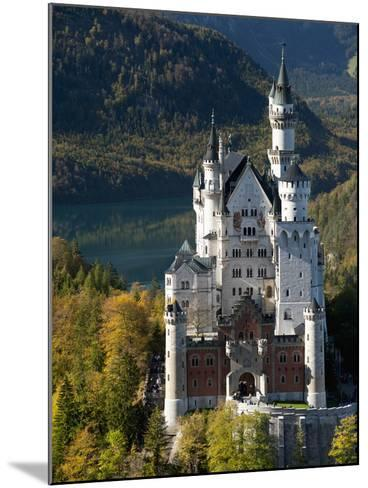 Romantic Neuschwanstein Castle and German Alps During Autumn, Southern Part of Romantic Road, Bavar-Richard Nebesky-Mounted Photographic Print