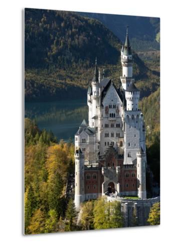Romantic Neuschwanstein Castle and German Alps During Autumn, Southern Part of Romantic Road, Bavar-Richard Nebesky-Metal Print