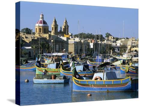 View across Harbour with Traditional Luzzu Fishing Boats, Marsaxlokk, Malta, Mediterranean, Europe-Stuart Black-Stretched Canvas Print