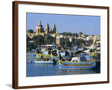 View across Harbour with Traditional Luzzu Fishing Boats, Marsaxlokk, Malta, Mediterranean, Europe-Stuart Black-Framed Art Print