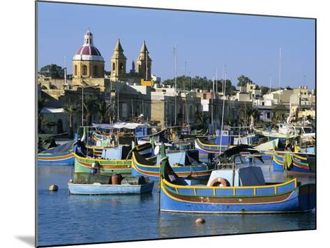 View across Harbour with Traditional Luzzu Fishing Boats, Marsaxlokk, Malta, Mediterranean, Europe-Stuart Black-Mounted Photographic Print