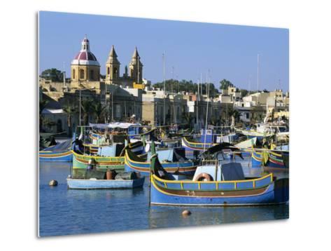 View across Harbour with Traditional Luzzu Fishing Boats, Marsaxlokk, Malta, Mediterranean, Europe-Stuart Black-Metal Print