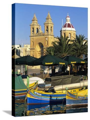 Harbour with Luzzu Fishing Boats and Marsaxlokk Parish Church, Marsaxlokk, Malta, Mediterranean, Eu-Stuart Black-Stretched Canvas Print