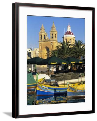 Harbour with Luzzu Fishing Boats and Marsaxlokk Parish Church, Marsaxlokk, Malta, Mediterranean, Eu-Stuart Black-Framed Art Print