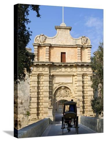 Mdina Gate with Horse Drawn Carriage, Mdina, Malta, Mediterranean, Europe-Stuart Black-Stretched Canvas Print