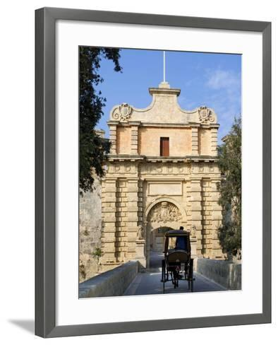 Mdina Gate with Horse Drawn Carriage, Mdina, Malta, Mediterranean, Europe-Stuart Black-Framed Art Print