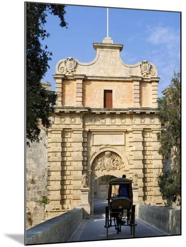 Mdina Gate with Horse Drawn Carriage, Mdina, Malta, Mediterranean, Europe-Stuart Black-Mounted Photographic Print