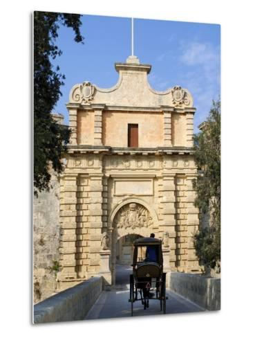 Mdina Gate with Horse Drawn Carriage, Mdina, Malta, Mediterranean, Europe-Stuart Black-Metal Print