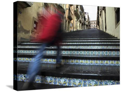 La Scala 142 Steps with Hand Painted Ceramic Tiles, Caltagirone, Sicily, Italy, Europe-Stuart Black-Stretched Canvas Print