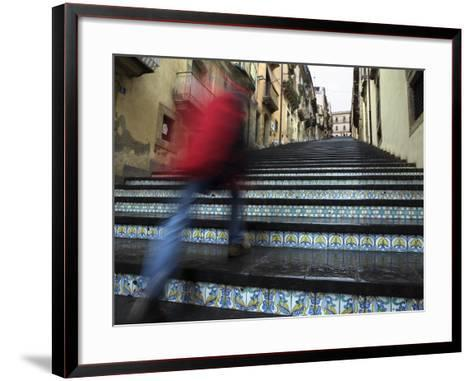 La Scala 142 Steps with Hand Painted Ceramic Tiles, Caltagirone, Sicily, Italy, Europe-Stuart Black-Framed Art Print