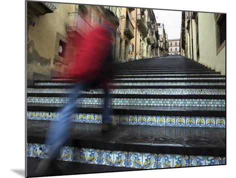 La Scala 142 Steps with Hand Painted Ceramic Tiles, Caltagirone, Sicily, Italy, Europe-Stuart Black-Mounted Photographic Print