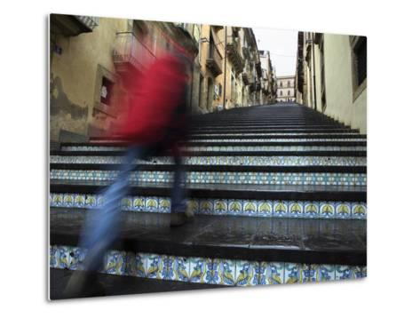 La Scala 142 Steps with Hand Painted Ceramic Tiles, Caltagirone, Sicily, Italy, Europe-Stuart Black-Metal Print