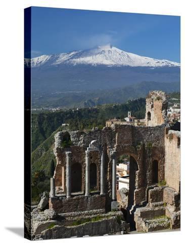 The Greek Amphitheatre and Mount Etna, Taormina, Sicily, Italy, Europe-Stuart Black-Stretched Canvas Print