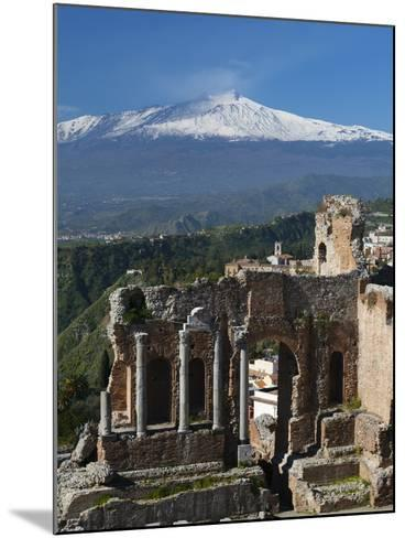 The Greek Amphitheatre and Mount Etna, Taormina, Sicily, Italy, Europe-Stuart Black-Mounted Photographic Print