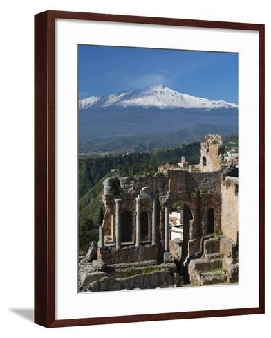 The Greek Amphitheatre and Mount Etna, Taormina, Sicily, Italy, Europe-Stuart Black-Framed Art Print